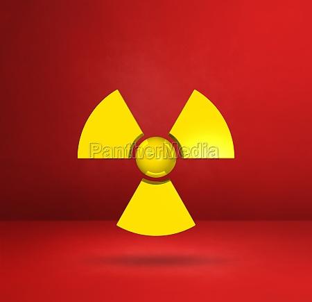 radioactive symbol on a red studio