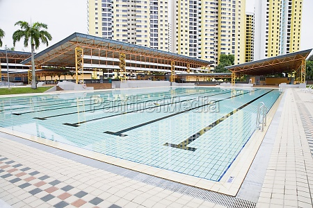 swimming pool in front of buildings