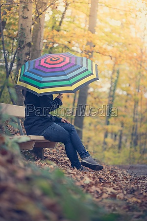 beautiful girl with umbrella in the