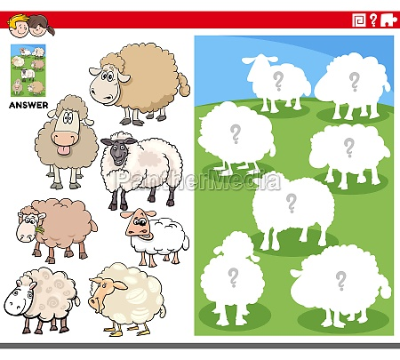 matching shapes game with cartoon sheep