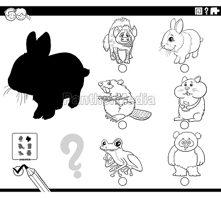 shadows game with cartoon animals coloring