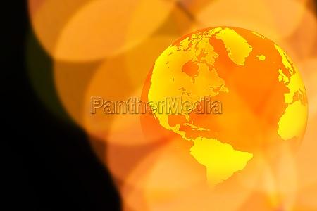 globe and yellow lights