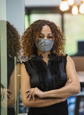 portrait of woman in face mask