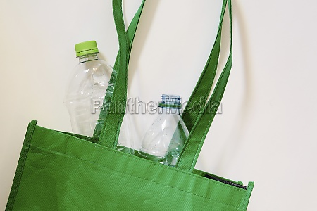 plastic bottles in recycling bag