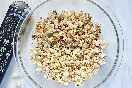 bowl of popcorn viewed from above
