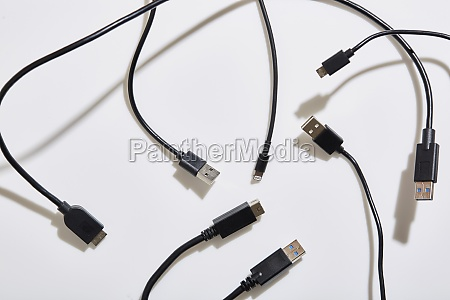 usb cables on white background
