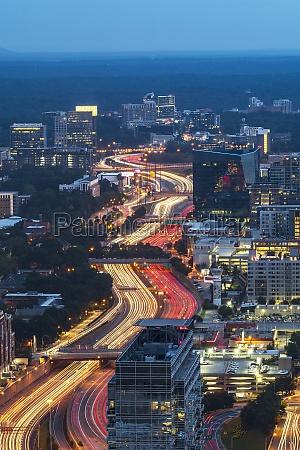 usa georgia atlanta downtown traffic at