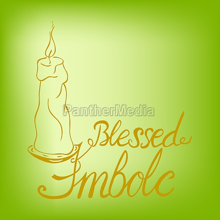 blessed imbolc lettering with a candle