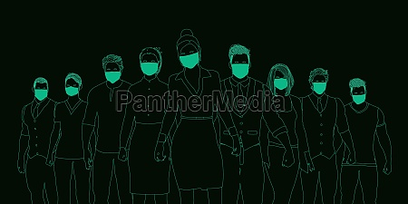 business people wearing medical masks