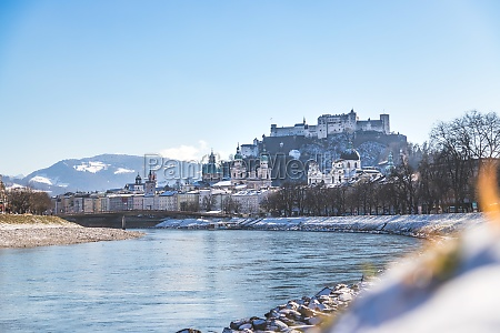 city of salzburg and snow river