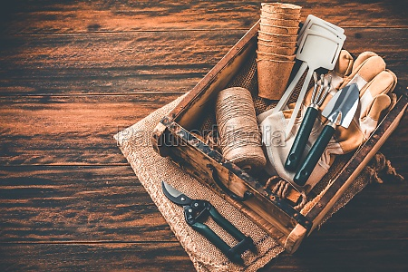 gardening tools and equipment in wooden