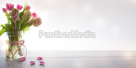 spring flowers on modern background