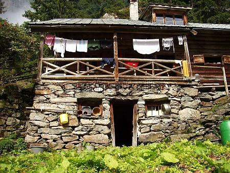 alpine hut and alpine farming on