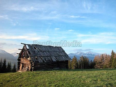 abandoned alpine pasture and mountain hut