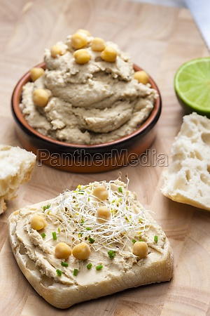 homemade spread of chickpeas cress