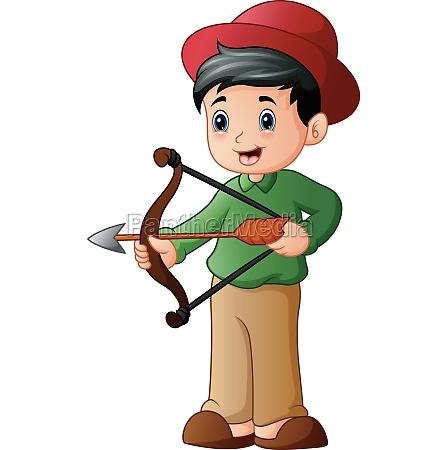 cartoon boy playing sport archery