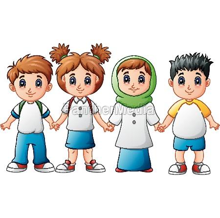 smiling children holding hands together