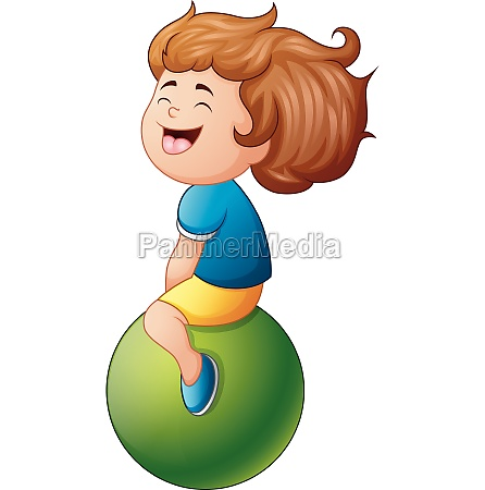 little girl sitting on green ball