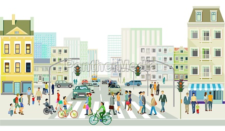 streets with people and traffic in