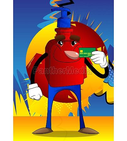 bottle of hand sanitizer holding credit