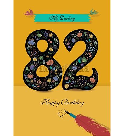 floral number 82 birthday card inkpen