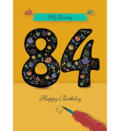 floral number 84 birthday card inkpen