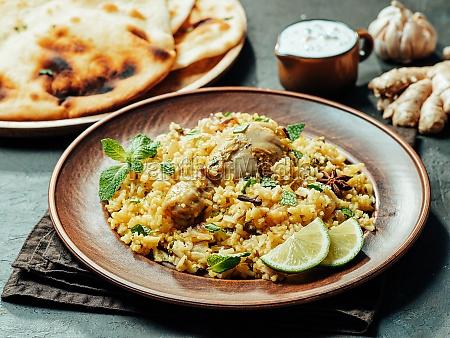 pakistani chicken biryani rice copy space