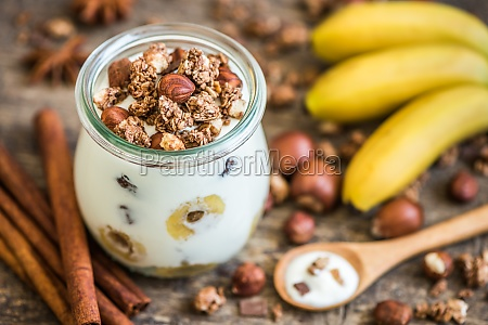 yogurt with muesli banana and nuts