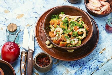 salad with tamarillo shrimps and avocado