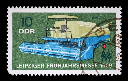 stamp printed in gdr shows combine