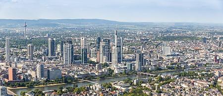frankfurt skyline panoramic view aerial photo