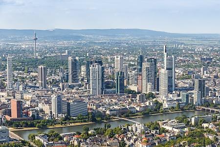 frankfurt skyline aerial photo main river