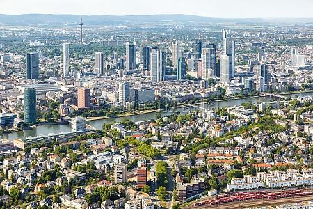 frankfurt skyline aerial photo city main