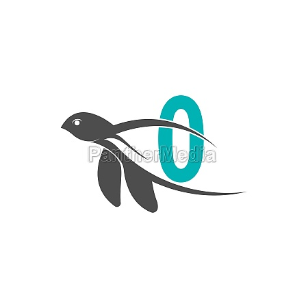 sea turtle icon with number zero