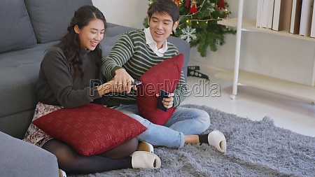 couple husband and wife enjoying winter