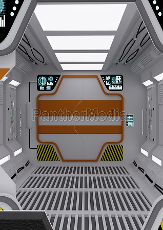3d rendering futuristic contol center
