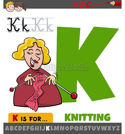 letter k from alphabet with knitting