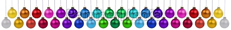 christmas balls many baubles banner colorful