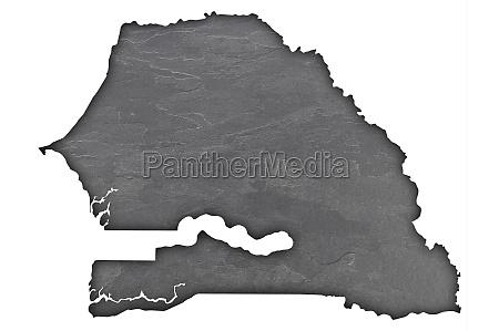 map of senegal on dark slate
