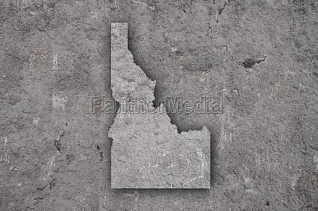 map of idaho on weathered concrete