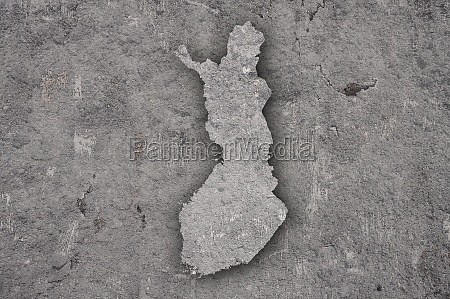 map of finland on weathered concrete