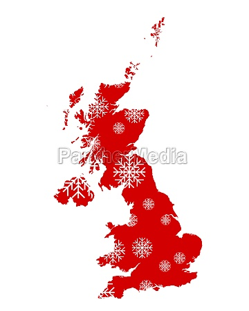 map of great britain with snowflakes