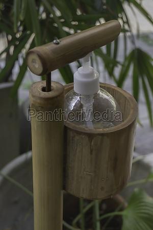 sanitizer alcohol gel at coffee shop