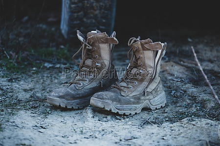 old brown military boots