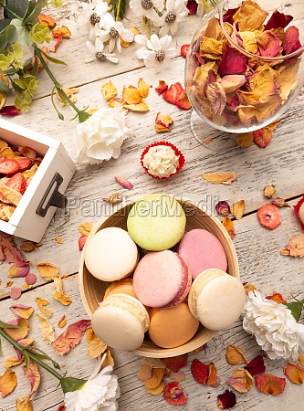 still life of macaroon cakes