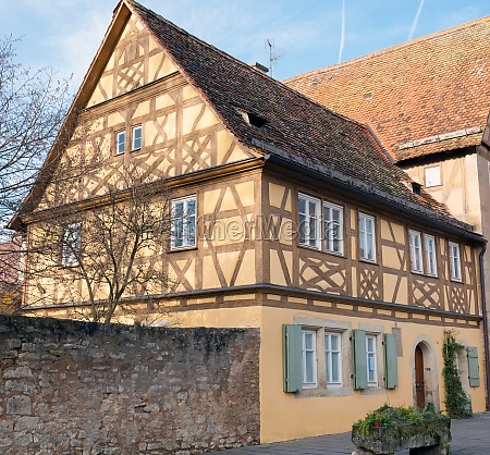 traditional half timbered school in rothenburg