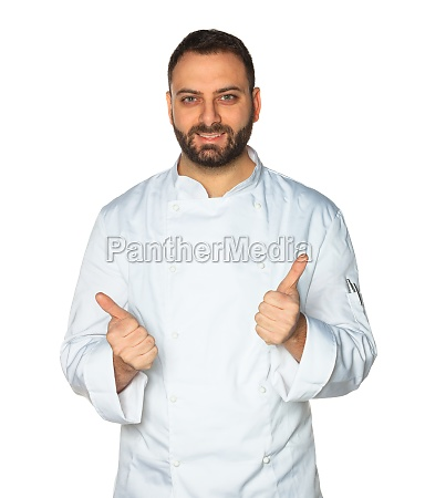 young chef on white background well