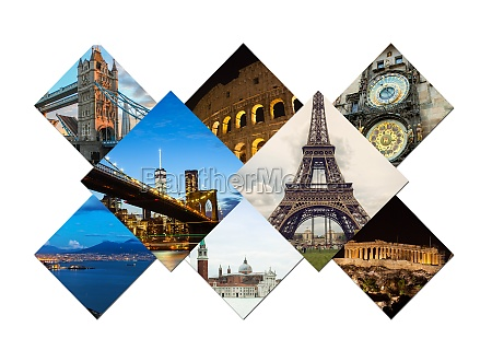 travel collage of famouse places