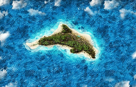 island in the shape of a