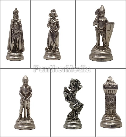 collage chess pieces on white